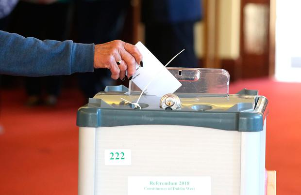 A Vote is dropped in the ballot box in the referendum on the 8th amendment of the Irish constitution at St Mary's Hospital in the Phoenix Park. Picture credit; Damien Eagers 25/5/2018