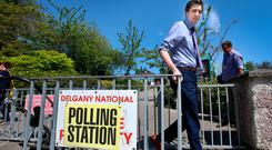 Minister for Health Simon Harris voting at Delgany National School Polling Station.Pic Steve Humphreys