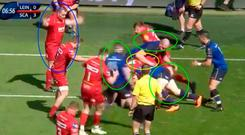 Rob Kearney has taken the ball into contact and Beirne (yellow circle) thinks he can steal it.