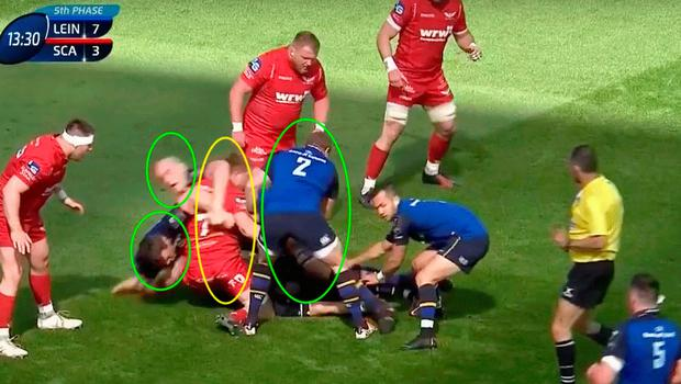 This time Robbie Henshaw has made ground and Davies (yellow) attempts the poach.