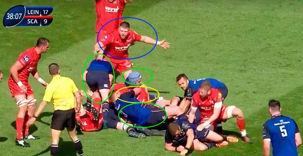 Beirne is again in the mix but it's his team-mate Davies (yellow) who gets in the jackal position.
