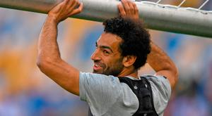 Mohamed Salah carries the goal during Liverpool's training at the NSC Olimpiyskiy Stadium in Kiev ahead of tonight's Champions League clash with Real Madrid. Photo: Shaun Botterill/Getty Images