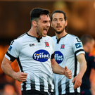 25 May 2018; Patrick Hoban of Dundalk celebrates after scoring his side's fourth goal during the SSE Airtricity League Premier Division match between Dundalk and Bray Wanderers, at Oriel Park in Dundalk. Photo by Seb Daly/Sportsfile