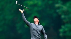 Rory McIlroy in playful mood at Wentworth. Photo: Getty Images