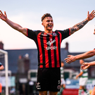 25 May 2018; Rob Cornwall celebrates after scoring his side's late equaliser with his Bohemians team-mate Philip Gannon, right, during the SSE Airtricity League Premier Division match between Bohemians and Shamrock Rovers at Dalymount Park in Dublin. Photo by Stephen McCarthy/Sportsfile