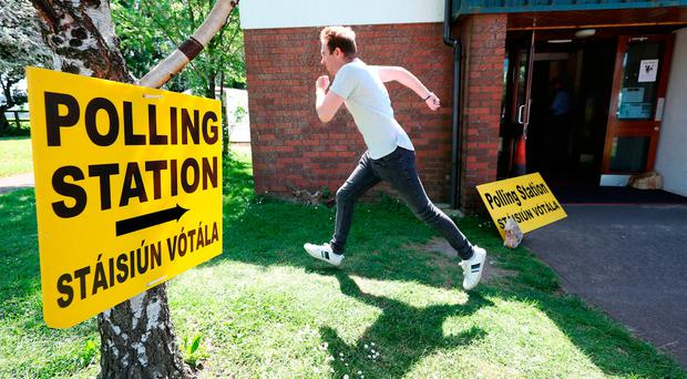 A man leaving a polling station in Dublin. Photo: Niall Carson/PA Wire