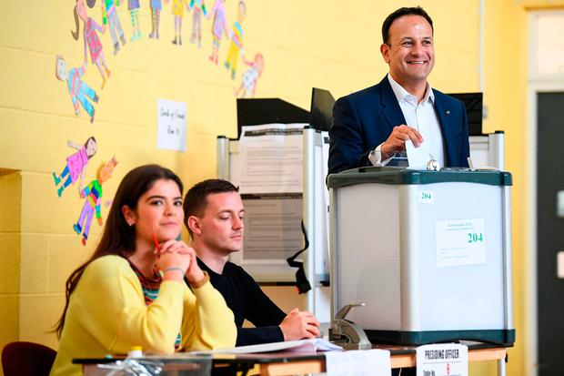 Taoiseach Leo Varadkar votes at Scoil Thomas Lodge in Dublin. Photo: Getty