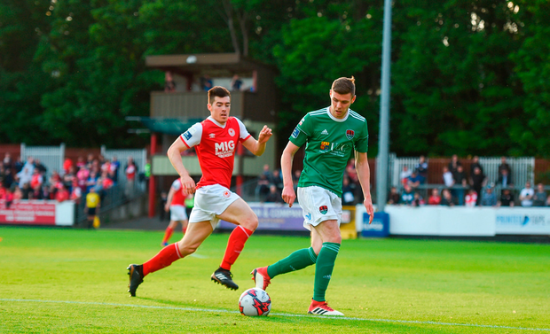 Garry Buckley of Cork City in action against Lee Desmond of St Patrick's Athletic. Photo by David Fitzgerald/Sportsfile