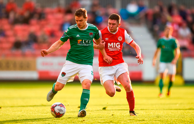 Graham Cummins of Cork City in action against James Doona of St Patrick's Athletic. Photo by David Fitzgerald/Sportsfile