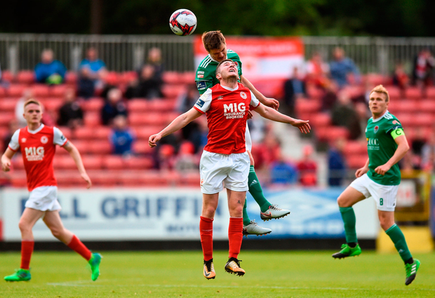 Colm Horgan of Cork City in action against James Doona of St Patrick's Athletic. Photo by David Fitzgerald/Sportsfile