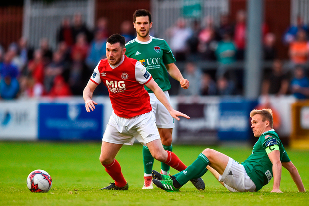 Ryan Brennan of St Patrick's Athletic in action against Conor McCormack of Cork City. Photo by David Fitzgerald/Sportsfile