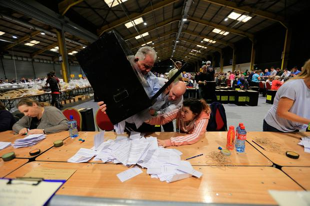 The Dublin count centre at the RDS. Photo: Gerry Mooney