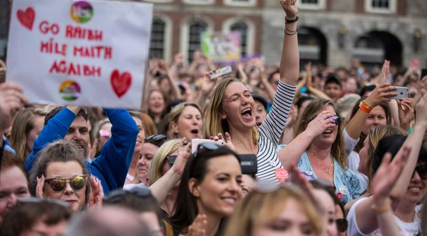 Celebrating the Eighth amendment being repealed at Dublin Castle. Photo: Mark Condren