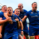 Sean Cronin of Leinster celebrates with team-mates, from left, Tadhg Furlong, Jordan Larmour, Devin Toner and Jack Conan