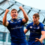 Jordan Larmour of Leinster celebrates with team-mate Garry Ringrose