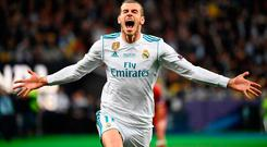 Real Madrid's Gareth Bale celebrates after scoring his team's second goal