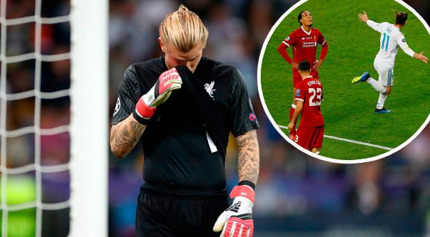 Karius dejected and (inset) Bale celebrates