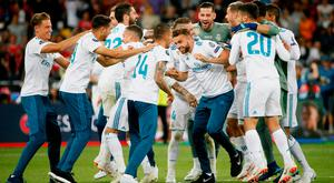 Real Madrid players celebrate after winning the Champions League