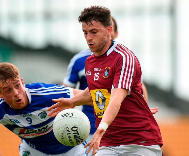 John Connellan of Westmeath in action against Kieran Lillis of Laois. Photo: Matt Browne/Sportsfile