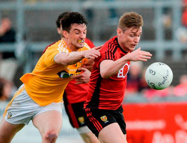 Caolan Mooney of Down in action against Niall McKeever of Antrim. Photo: Oliver McVeigh/Sportsfile