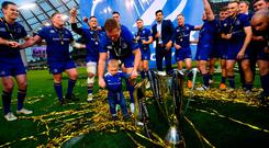 26 May 2018; Seán Cronin of Leinster celebrates with his son Cillian during the Guinness PRO14 Final match between Leinster and Scarlets at the Aviva Stadium in Dublin. Photo by Ramsey Cardy/Sportsfile