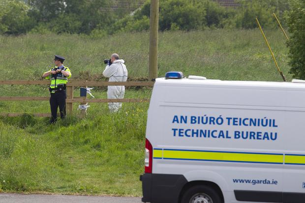 SCENE: Gardai and forensic officers at scene in Dunleer. Picture: Tom Conachy