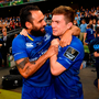 BLUE DAY: Isa Nacewa and Luke McGrath of Leinster celebrate after their Guinness Pro14 Final victory over Scarlets. Picture: Sportsfile