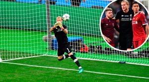 Karius parries a Bale effort into the net