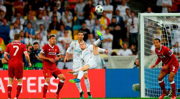 Real Madrid's Gareth Bale scores a spectacular overhead kick during last night's Champions League final at NSC Olimpiyskiy Stadium. Photo: Shaun Botterill/Getty Images)