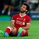 Liverpool's Mohamed Salah looks dejected. Photo: Hannah McKay/Reuters