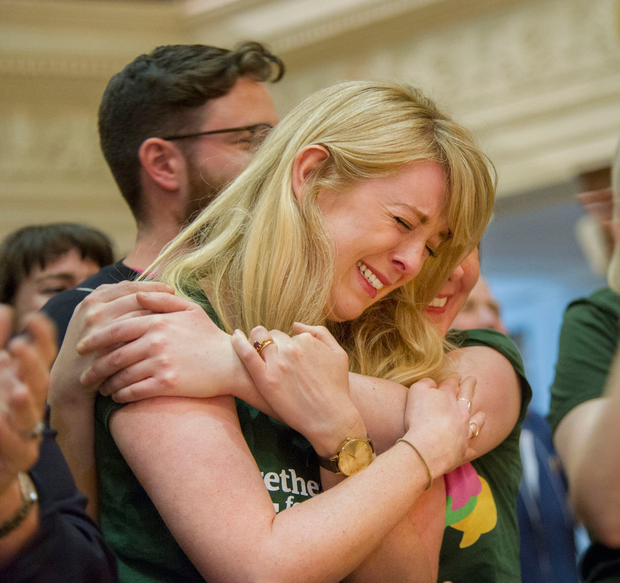 REPEAL: Together for Yes campaigners embrace at the announcement of results at the Referendum count in Cork City Hall. Photo: Daragh Mc Sweeney/Provision