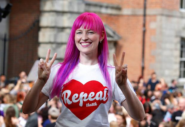 Ciara Byrne, originally from Malahide, living in Barcelona celebrates the 8th amendment being repealed at Dublin Castle. Picture credit; Mark Condren