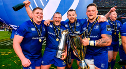Leinster players, from left, Tadhg Furlong, Jack McGrath, Cian Healy and Andrew Porter following their victory in the Guinness PRO14 Final between Leinster and Scarlets at the Aviva Stadium in Dublin
