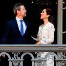 Crown Prince Frederik of Denmark with his wife Crown Princess Mary at the balcony of their residence on Amalienborg Palace on the occasion of his 50th birthday on May 26, 2018 in Copenhagen, Denmark. Later during the evening the Crown Prince host a Gala Banquet at Christiansborg (Photo by Ole Jensen/Getty Images)