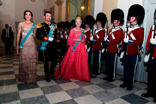 Queen Margrethe of Denmark as host for the evening leads Crown Prince Frederik and Crown Princess Mary to the Knights hall where the gala banquet on the occasion of The Crown Prince's 50th birthday at Christiansborg Palace is held on May 26, 2018 in Copenhagen, Denmark. Some 350 guest participated in the event (Photo by Ole Jensen/Getty Images)