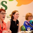 l-r; Ailbhe Smyth, Grainne Griffen and Orla O'Connor at Together for Yes press conference. Davenport Hotel, Dublin. Picture: Caroline Quinn