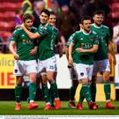 Kieran Sadlier of Cork City celebrates after scoring his side's third goal