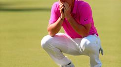 Rory McIlroy reacts during day four of the 2018 BMW PGA Championship at Wentworth