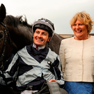 Jockey Colm O'Donoghue with trainer Jessica Harrington and assistant trainer Kate Harrington (left) after the partnership were victorious with Alpha Centauri in yesterday's Tattersalls Irish 1,000 Guineas. Photo by Barry Cregg/Sportsfile