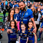 Isa Nacewa celebrates with his family after Leinster's victory in the Guinness PRO14 final. Photo by David Fitzgerald/Sportsfile