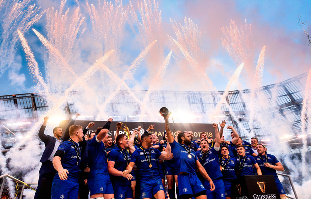 Leinster players celebrate their victory over Scarlets in the Guinness PRO14 final in Dublin. Photo by Ramsey Cardy/Sportsfile