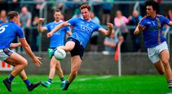 Ciaran Kilkenny shoots to score Dublin's third goal during their comprehensive victory over Wicklow. Photo by Ramsey Cardy/Sportsfile