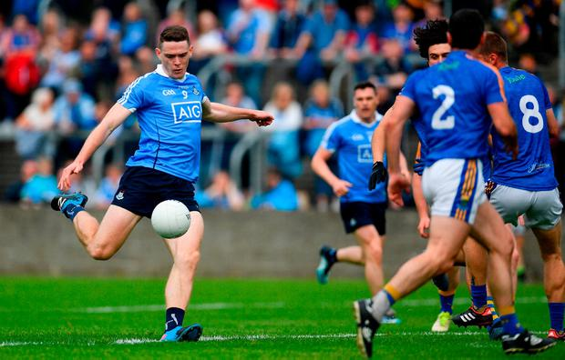 BLUE TIDE: Dublin's Brian Fenton hits the first goal during the Leinster SFC quarter-final at O'Moore Park Portlaoise. Photo: Ramsey Cardy/Sportsfile
