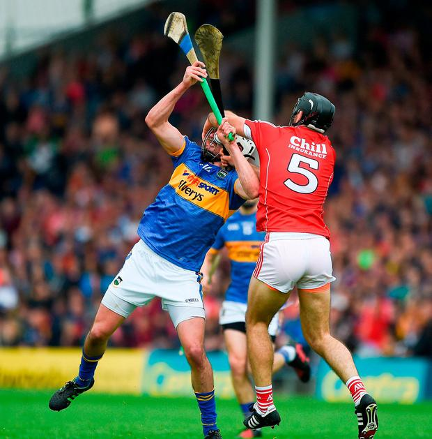Patrick Maher of Tipperary in action against Christopher Joyce of Cork. Photo: Daire Brennan/Sportsfile
