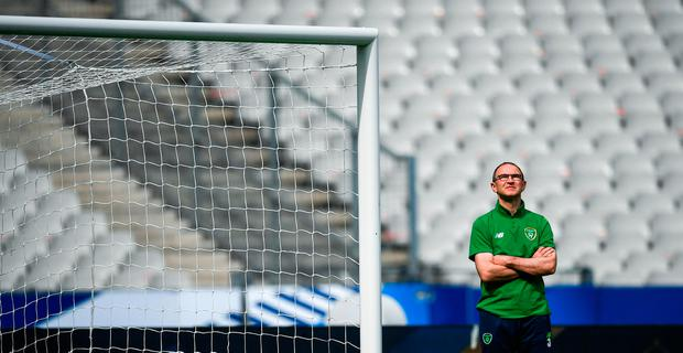 Martin O'Neill could be forgiven for thinking of what could have been as he enjoys a quiet moment during training at the Stade de France. Photo by Stephen McCarthy/Sportsfile
