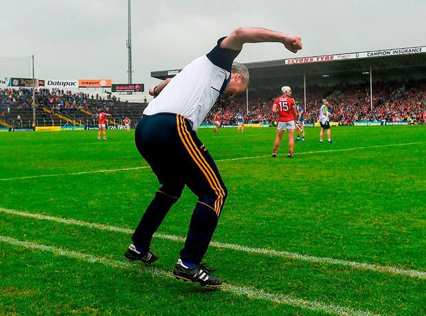 Michael Ryan celebrates Tipperary's equalising point. Photo: Daire Brennan/Sportsfile