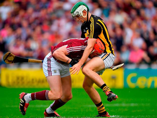 Conor Whelan of Galway in action against Paddy Deegan of Kilkenny. Photo: Piaras Ó Mídheach/Sportsfile