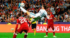 Bale's foot makes perfect, clean contact on Marcelo's cross to score one of the great European Cup final goals. Photo by David Ramos/Getty Images