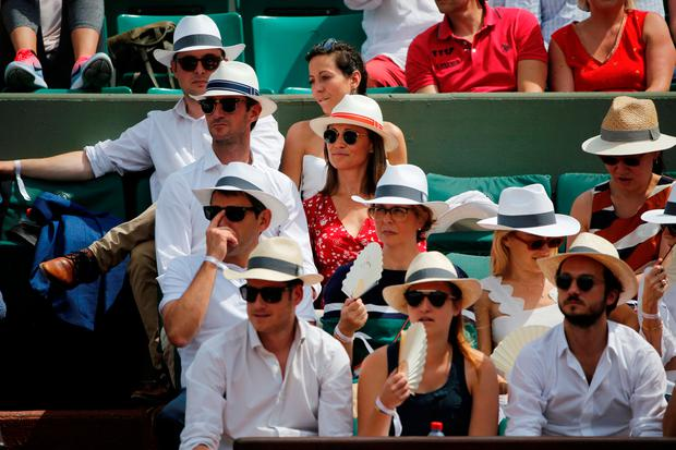 Pippa Middleton and husband James Matthews in the stand REUTERS/Pascal Rossignol
