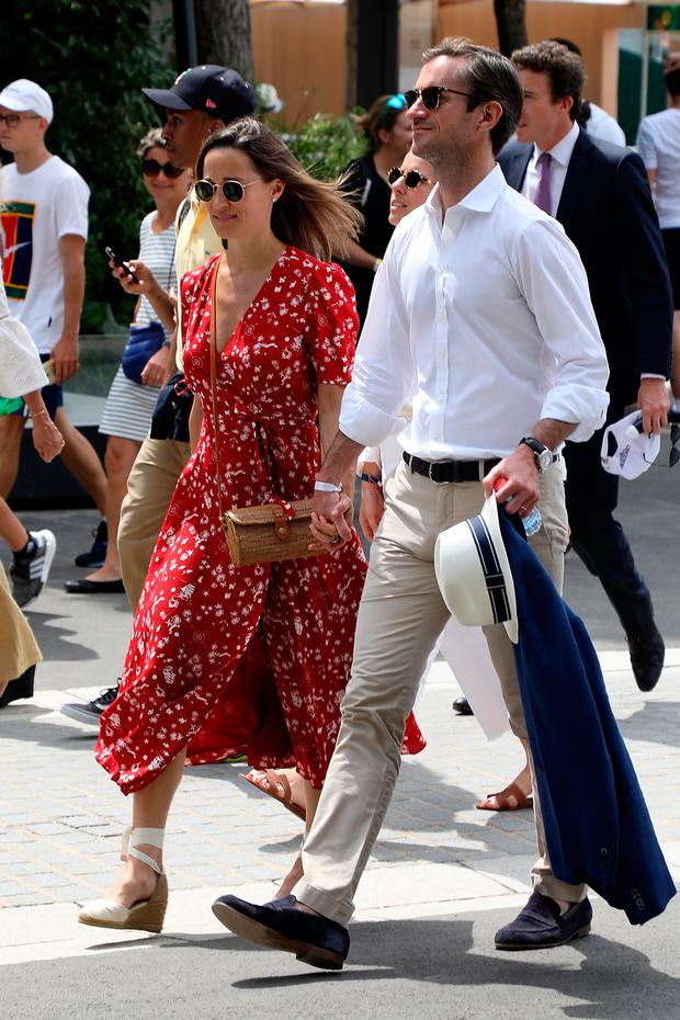 Pippa Middleton and her husband James Matthews are seen attending the french open at Roland Garros on May 27, 2018 in Paris, France. (Photo by Bertrand Rindoff Petroff/Pierre Suu/Getty Images)